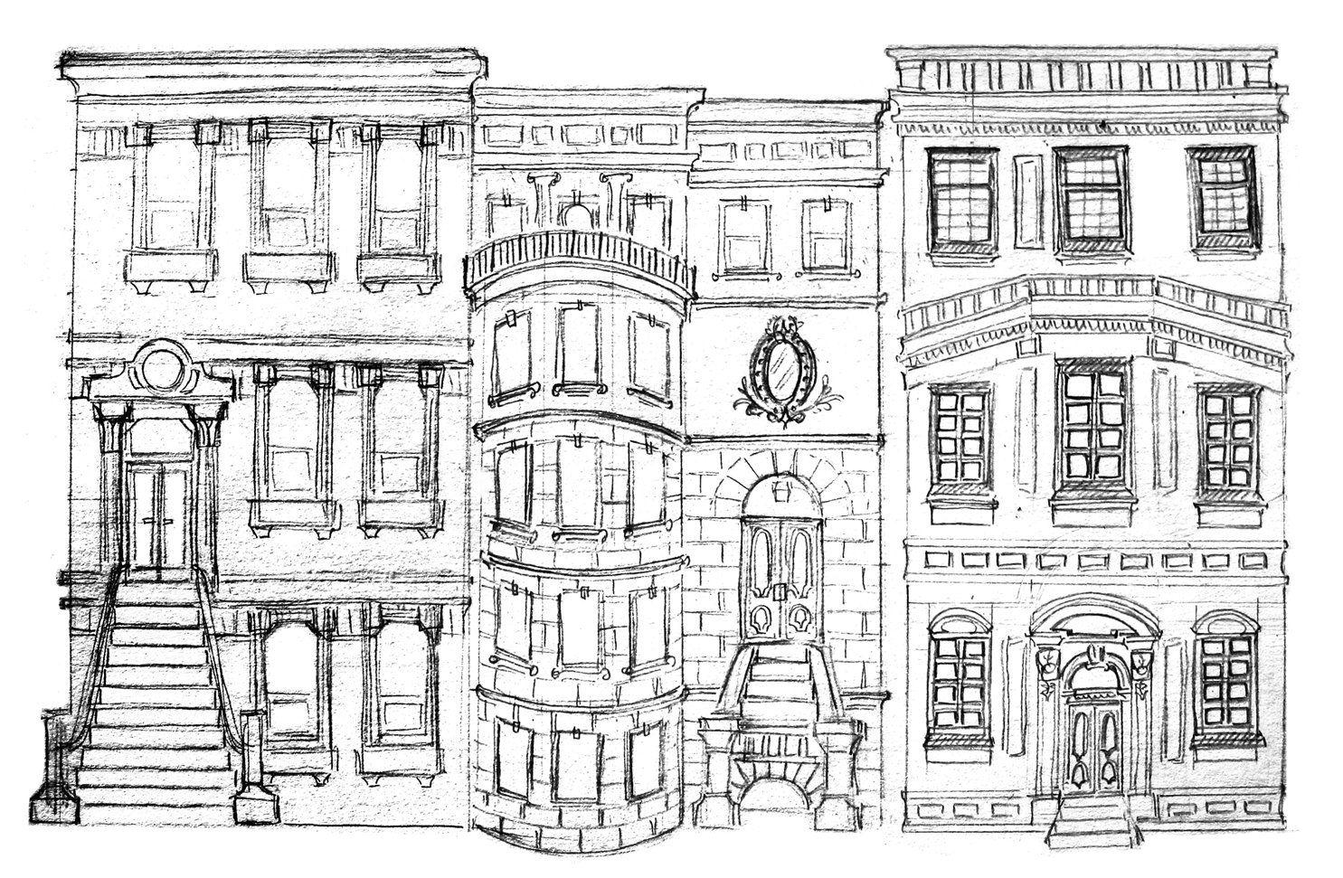 Line Art Building : Nyc brownstones sketch g  illustration