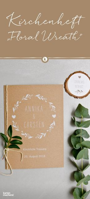 Kirchenheft Hochzeit Floral Wreath Kraftpapier #flowerbouquetwedding