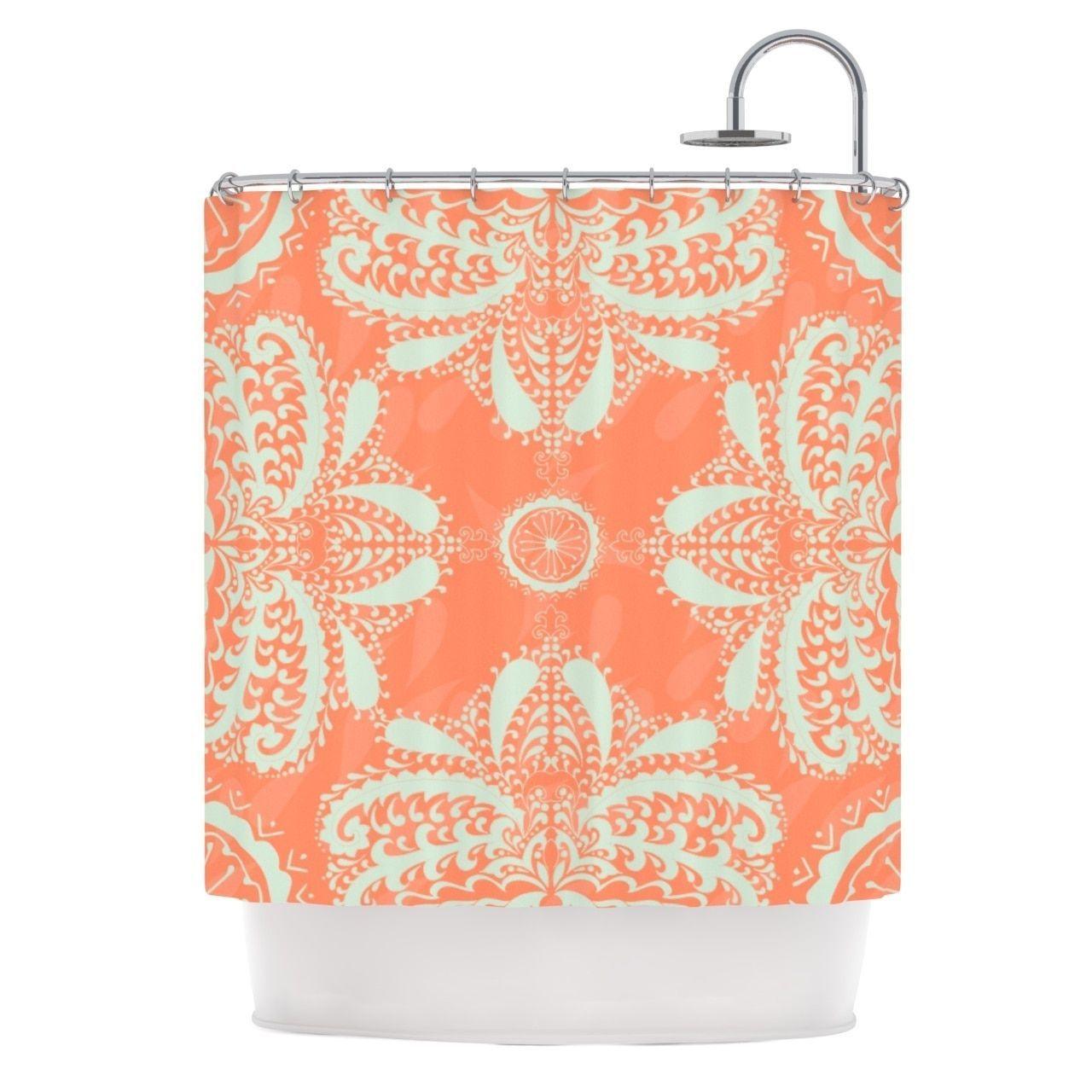 Orange Floral Shower Curtain. Kess InHouse Nandita Singh Motifs in Peach Orange Floral Shower Curtain