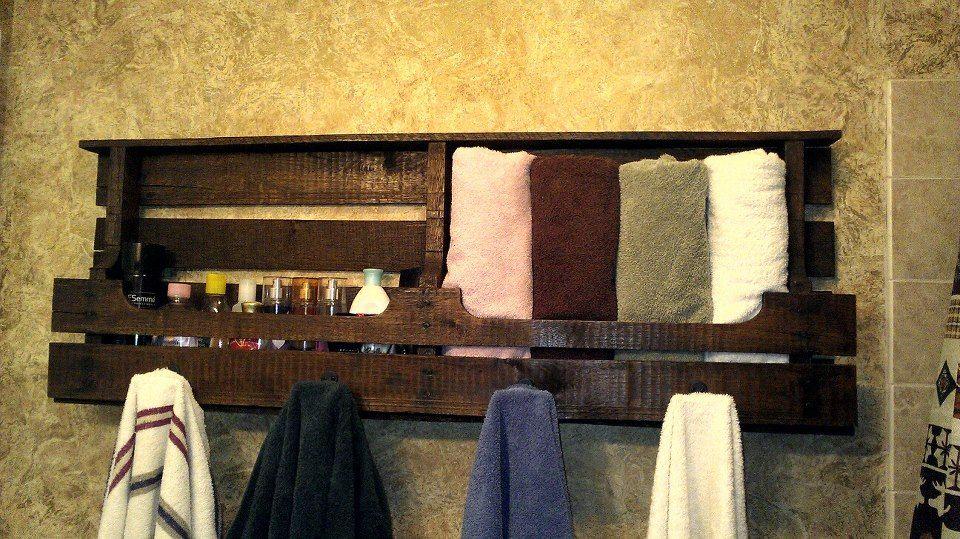 pallet towel rack my creations pinterest pallet. Black Bedroom Furniture Sets. Home Design Ideas