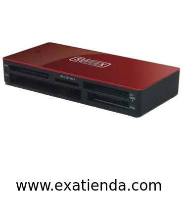 Ya disponible Lector Sweex ext. rojo   (por sólo 14.99 € IVA incluído):   - Soportamúltiples tarjetas de memoria - Dedicado microSD/M2 ranura  - Protocolos soportados xD Picture Card v1.2 Secure Digital v2.0 with SDHC MultiMediaCard v4.2 with 4 bit data bus CompactFlash v4.0 with Ultra DMA Memory Stick v1.43 Memory Stick PRO v1.02  - Medios de almacenaje Soporte CompactFlash (CF) Soporte de memory Stick (MS) MultiMediaCard (MMC) support Secure Digital (SD) support Memory