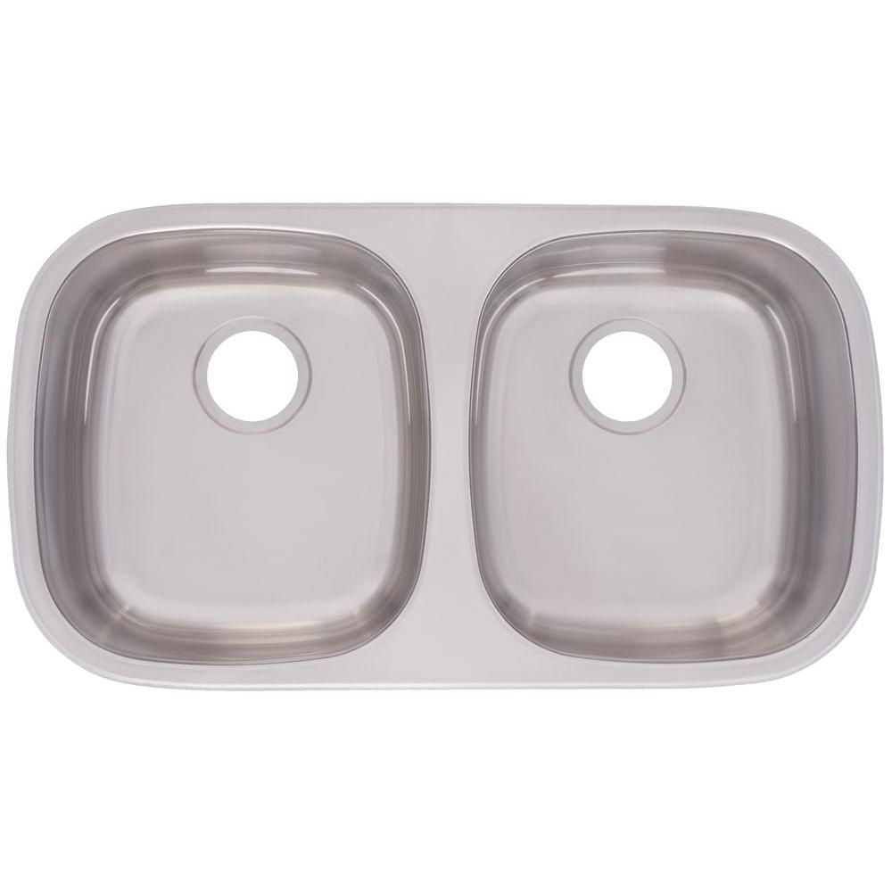 Undermount Stainless Steel (Silver) 31-3/8 in. 0-Hole Double Bowl ...