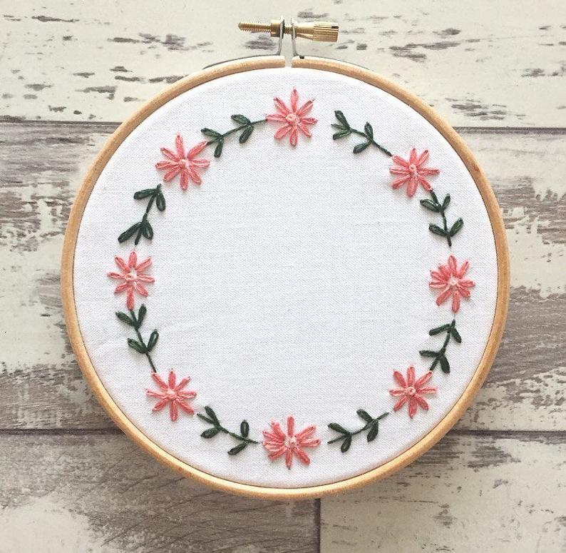 Cercle à broder sur mesure 6 personnalisé broderie d'Art de mur - fleur broderie cerceau Art - broderie fleurs - cercle à broder tournesol
