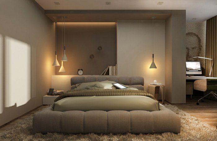 Wohnideen Schlafzimmer Teppich wohnideen schlafzimmer pendelleuchten led beleuchtung teppich