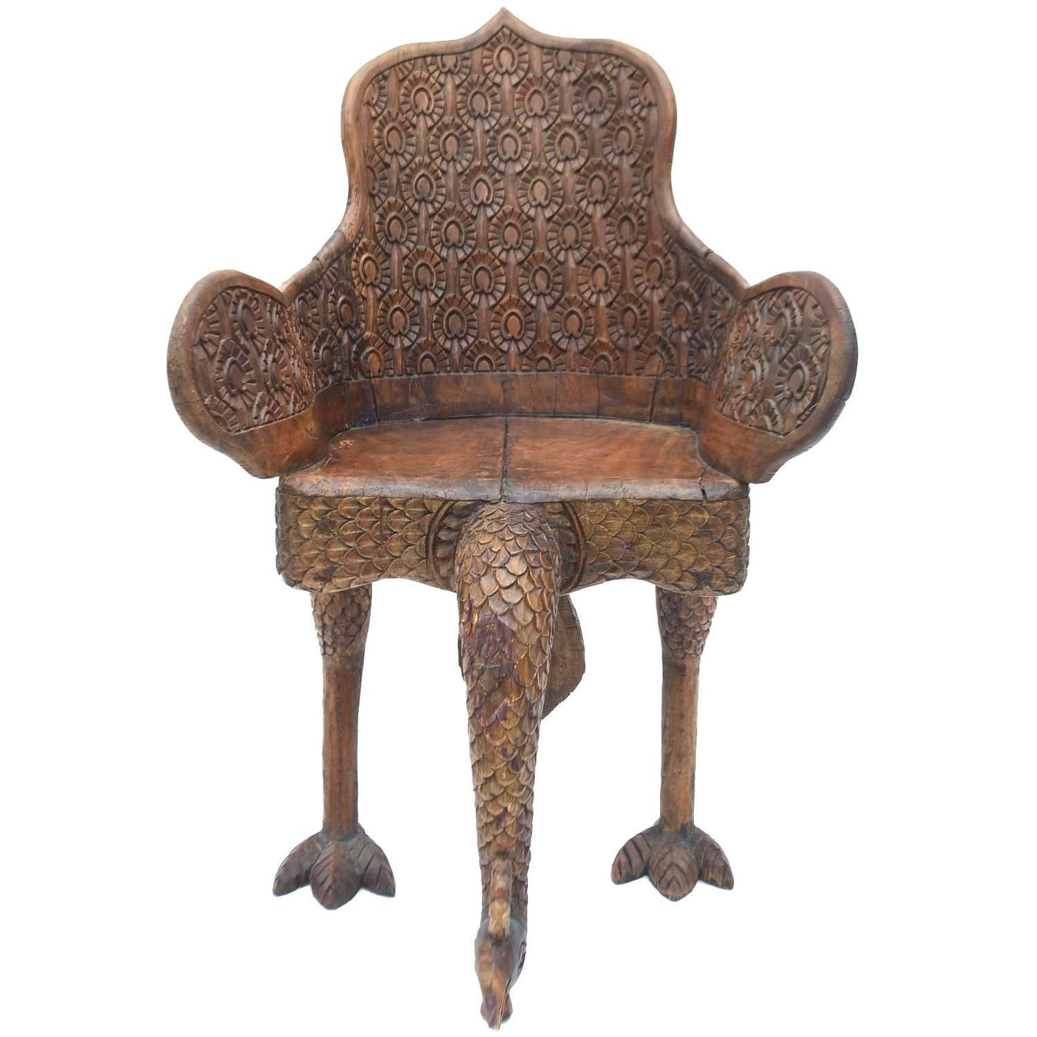 Anglo Indian Carved Peacock Chair Chair and ottoman set