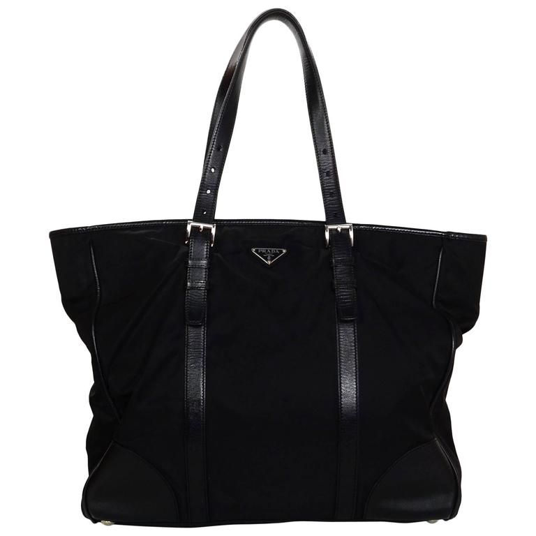 cad67afd72 Prada Black Tessuto Nylon Tote Bag w  Leather Trim