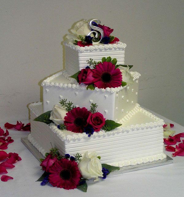 Square Wedding Cake Ideas: Wedding Cakes With Real Flowers