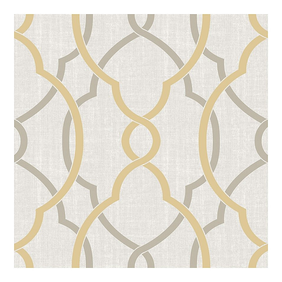 Nuwallpaper Sausalito Peel Stick Wallpaper In Taupe Yellow Bed Bath Beyond Peel And Stick Wallpaper Nuwallpaper Removable Wallpaper