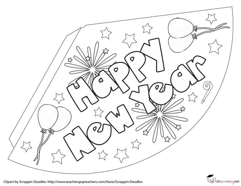 Free New Years Coloring Party Hats Pdf Kids New Years Eve Colorful Party Babysitting Crafts