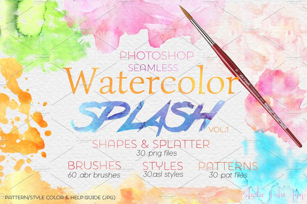 Watercolor Splash Design Elements Ps Brushes Styles Install