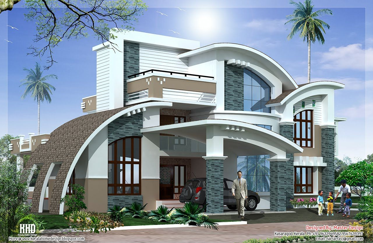 Modern mix luxury home design kerala home for Luxury contemporary house plans