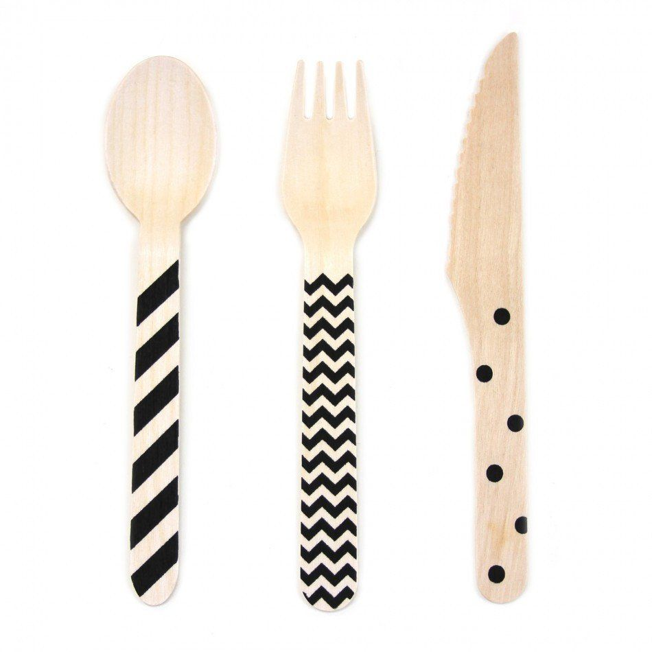 Black Chevron/Striped/Polka Dot Wood Cutlery Set | 18 ct