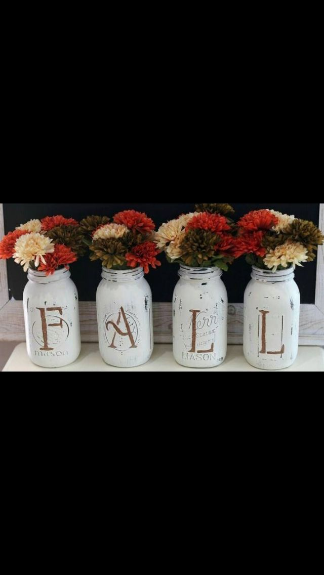 DIY painted mason jars.