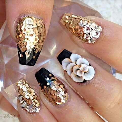 golden  nail designs summer acrylic gold nails acrylic