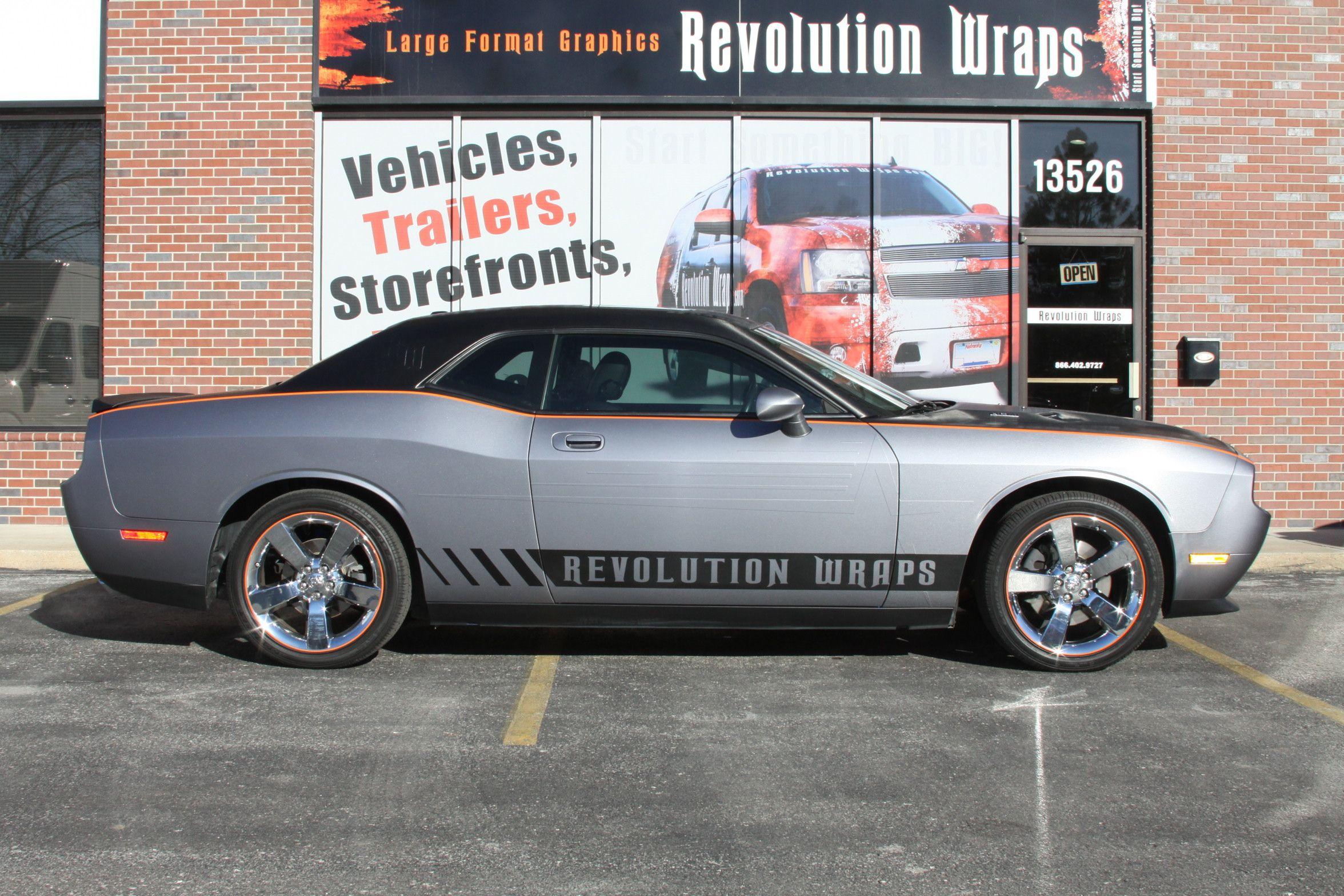 Brushed Metal Vinyl Car Wrap On A Dodge Challenger Car Wrap Dodge Challenger Vehicles