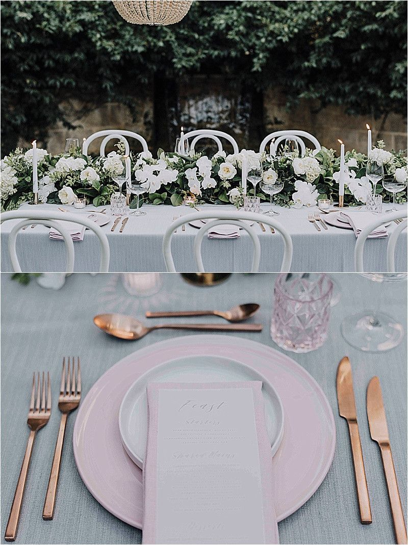 Wedding Wedding Flowers Table Setting Rose Gold Pink Plates Cutlery & Wedding Wedding Flowers Table Setting Rose Gold Pink Plates ...