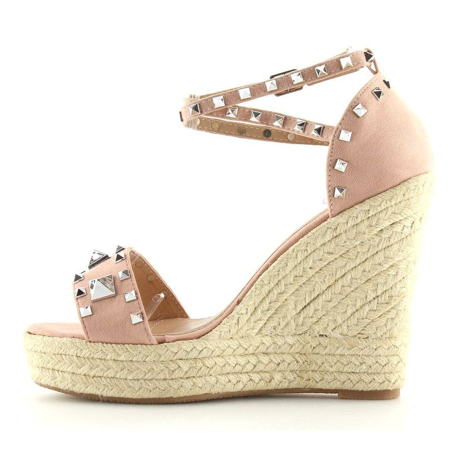 Espadryle Na Koturnie Rozowe 100 862sc Pink Sapatos