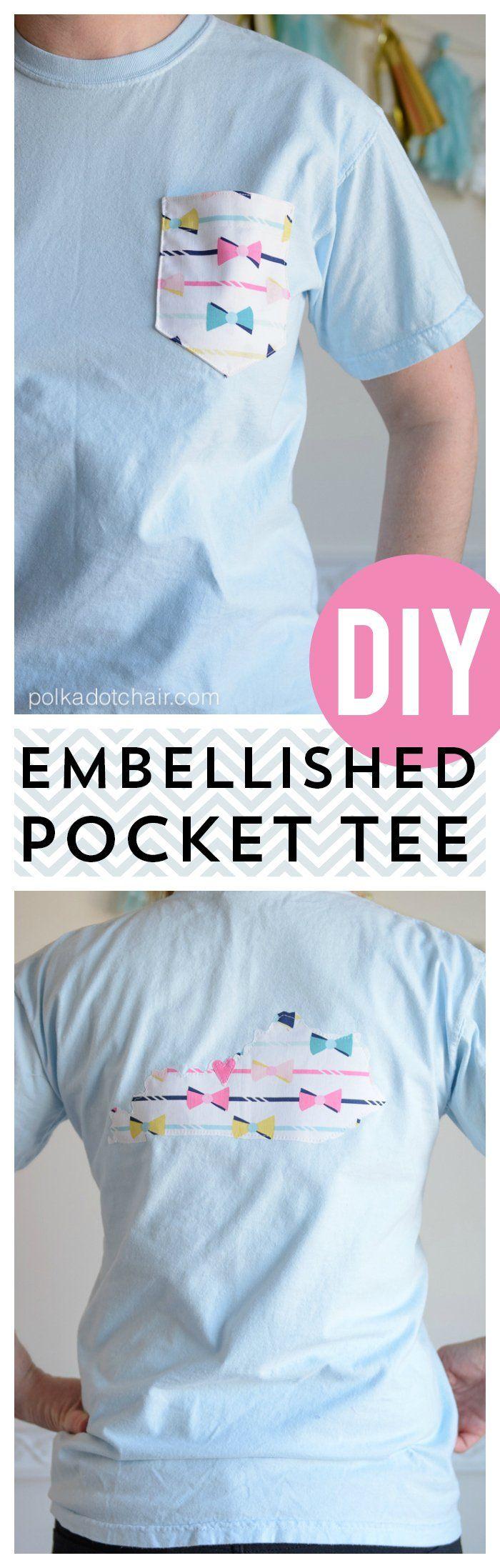 Diy Embellished Pocket Tees Tutorial In 2020 Shirt Dress Diy Diy Shirt Diy Clothes