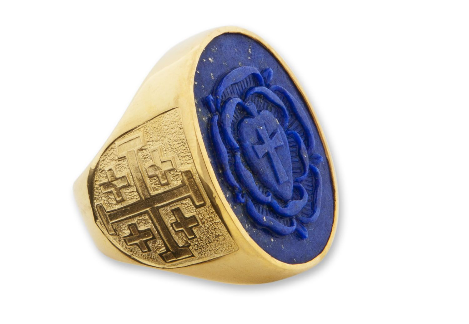 Large Heraldic Size Rosicrucian Ring -sculpted
