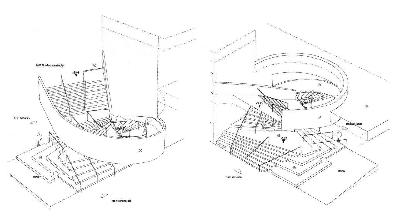Interior Staircase Architectural Drawing: Axonometric ...