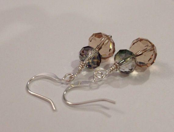 Multifaceted crystal beaded earrings by daretodangle on Etsy, $12.95
