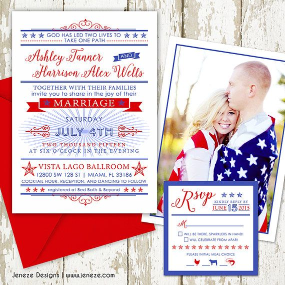 Red White And Blue Wedding Invitation With July 4th Theme Wedding