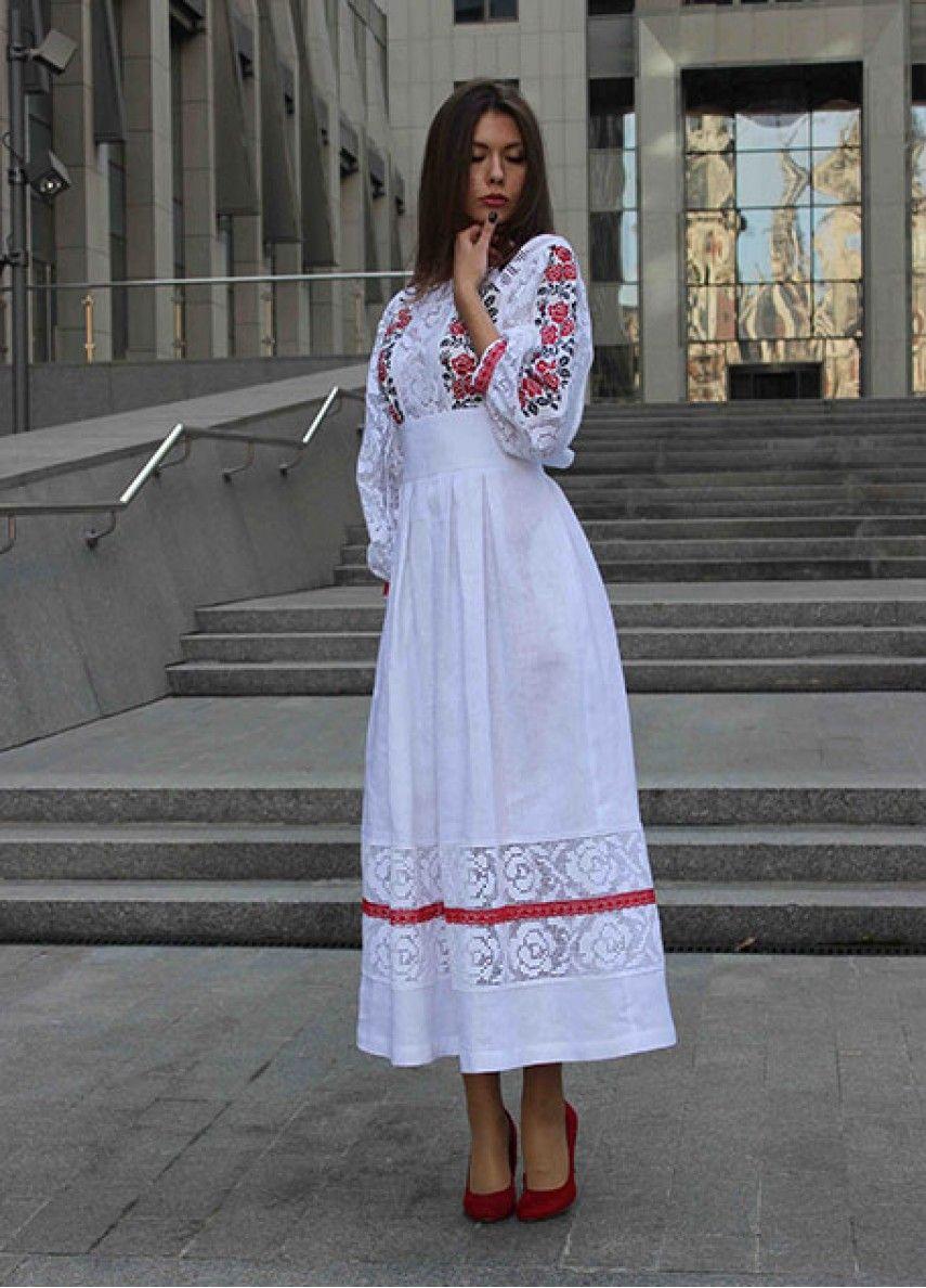 a2a7191ca42bca Біле лляне плаття з вишивкою та мереживом ПЛ-770040 | Вишиті сукні ...