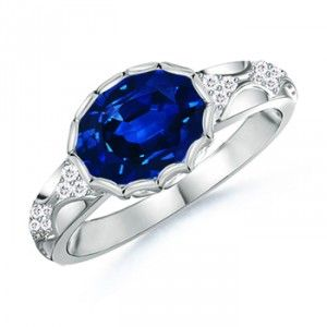 Angara Vintage Sapphire Cocktail Ring in Platinum JejZYw1ZVD