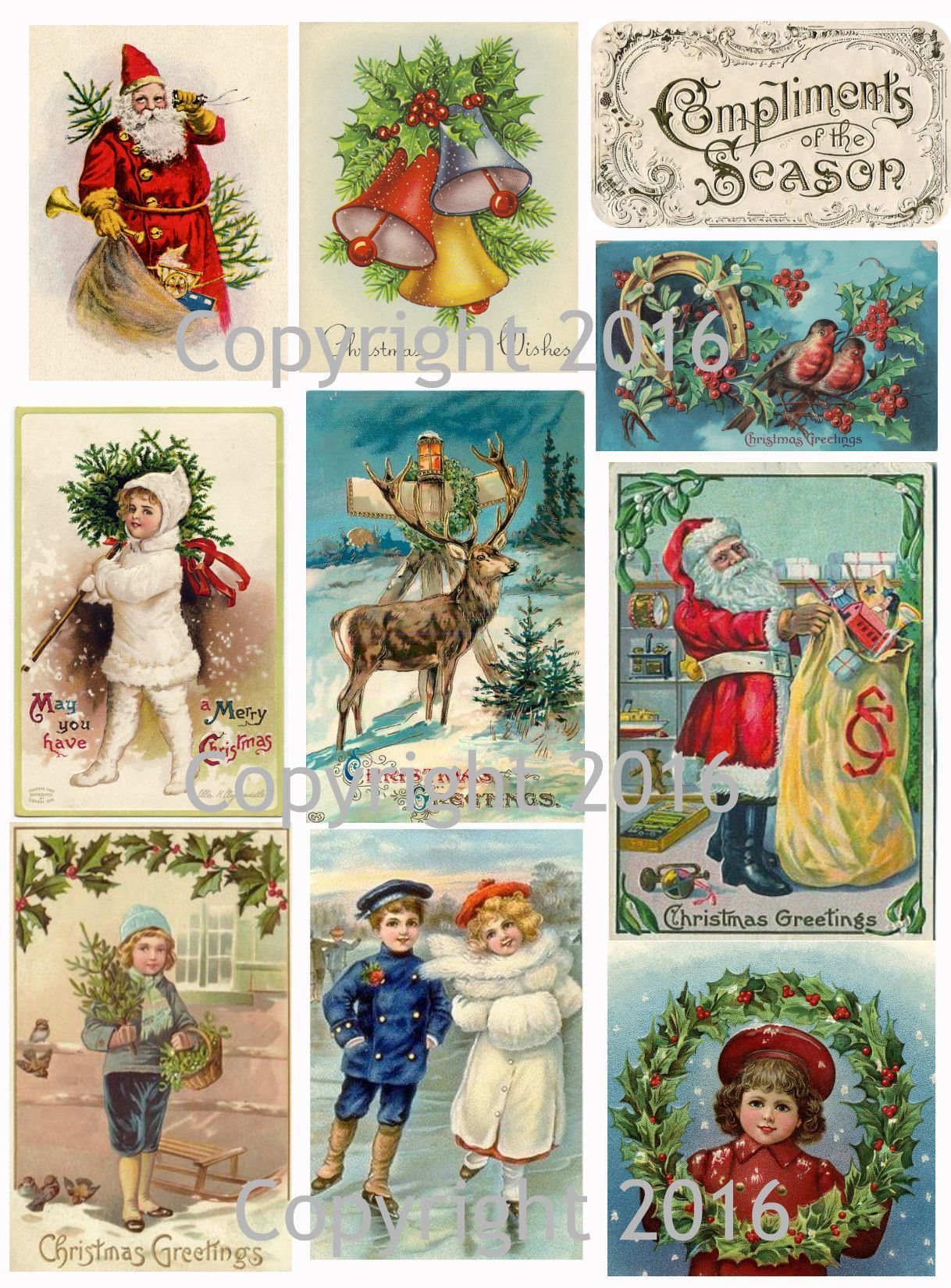 Vintage Christmas Card Collage Sheet 102