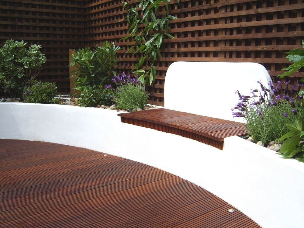 Deck with raised bed seating Built in garden seating