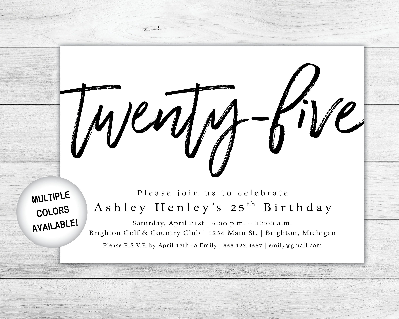 25th Birthday Invitation Printable Twenty Fifth Birthday Etsy Printable Birthday Invitations 25th Birthday Birthday Invitations