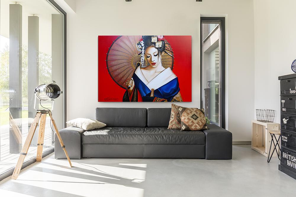 Woonkamer Met Kunst : Wilt u een prachtig geisha schilderij kopen voor in uw woonkamer