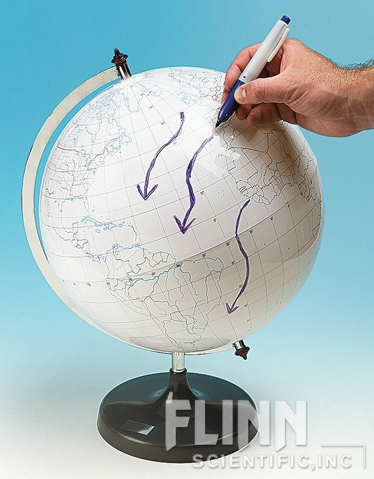Write-on Globe, white, 30 cm
