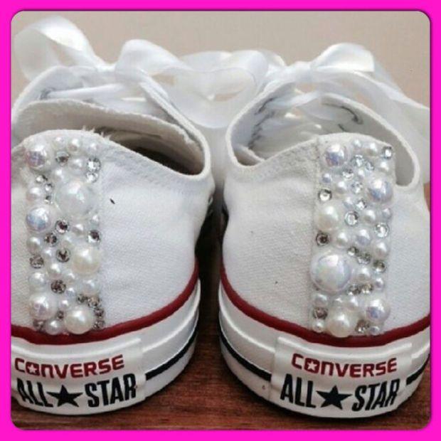 Pearl Converse and Wedding Converse   Vans   Nike   Pumps Silver Swarovski  Diamonte   Diamante Hand Made To Order US 5 - 10 UK 3- 8 AU 5 - 1 5cbe06cf1