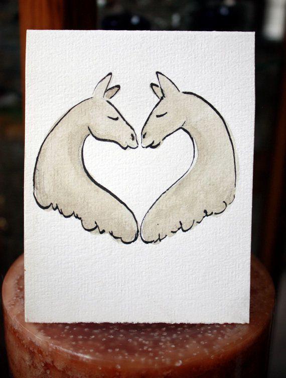Llama Love Alpaca Note Card by JackandRum on Etsy