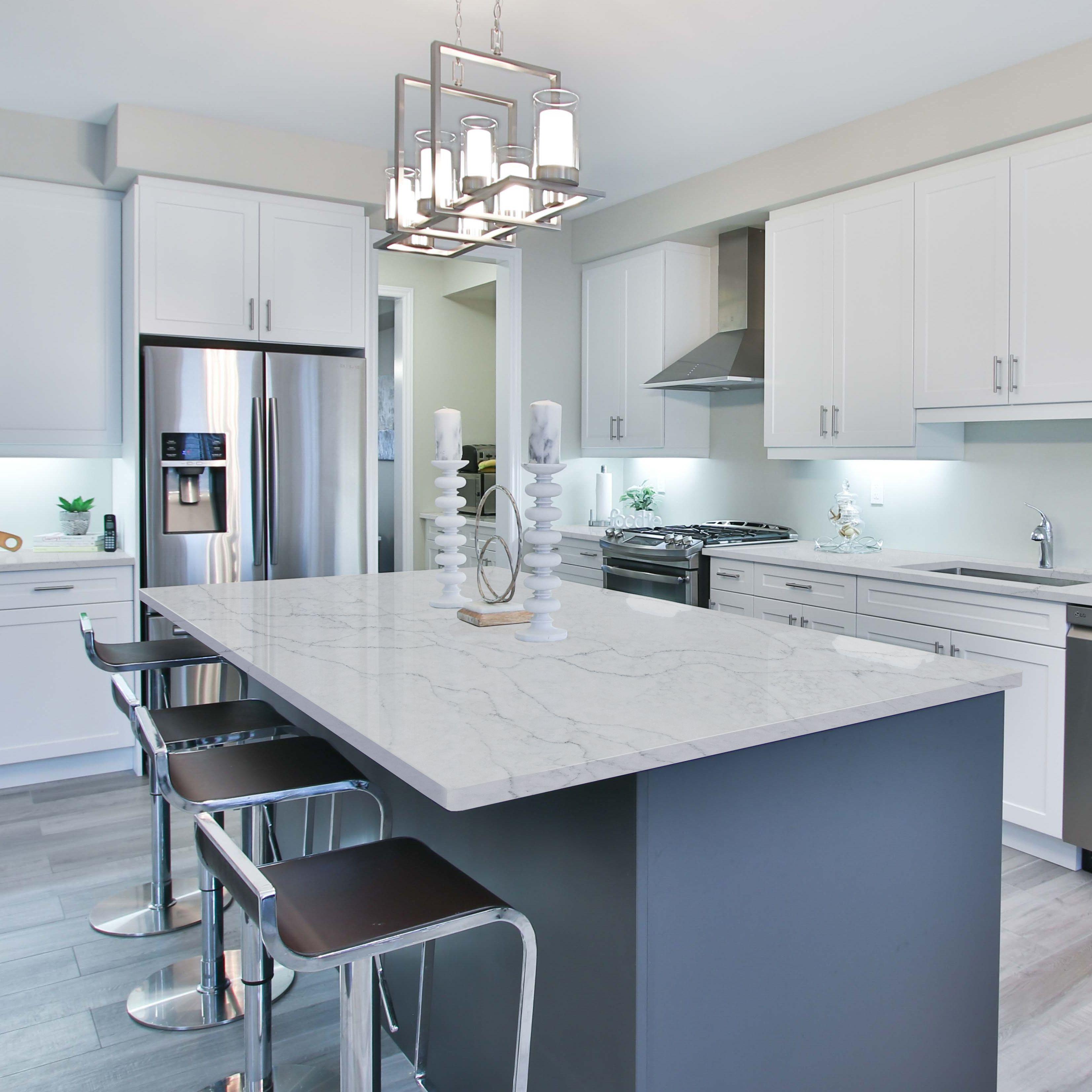 Sereno Bianco Quartz Island Countertop Kitchen Remodel