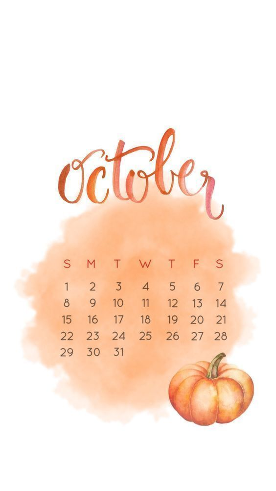 October 2018 Orange Calendar Design Samsung Wallpaper Fall Wallpaper October Calendar Wallpaper Calendar Design