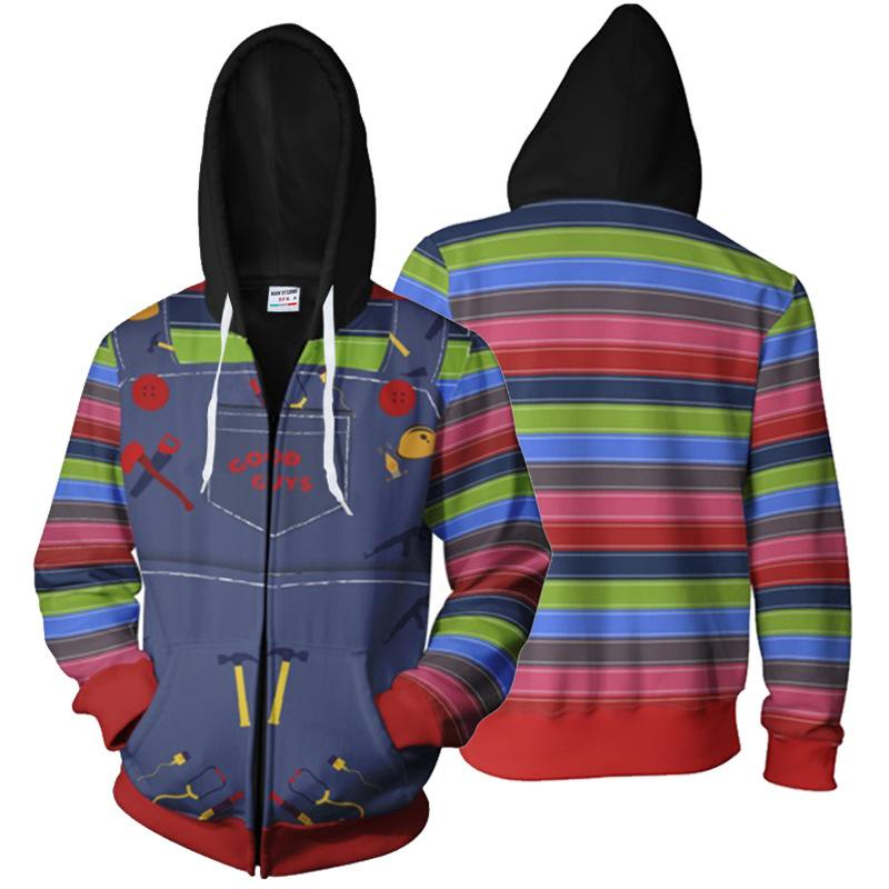 Child/'s Play Cosplay Chucky Printed Pullover Sweater Hoodie Hooded Unisex Coat