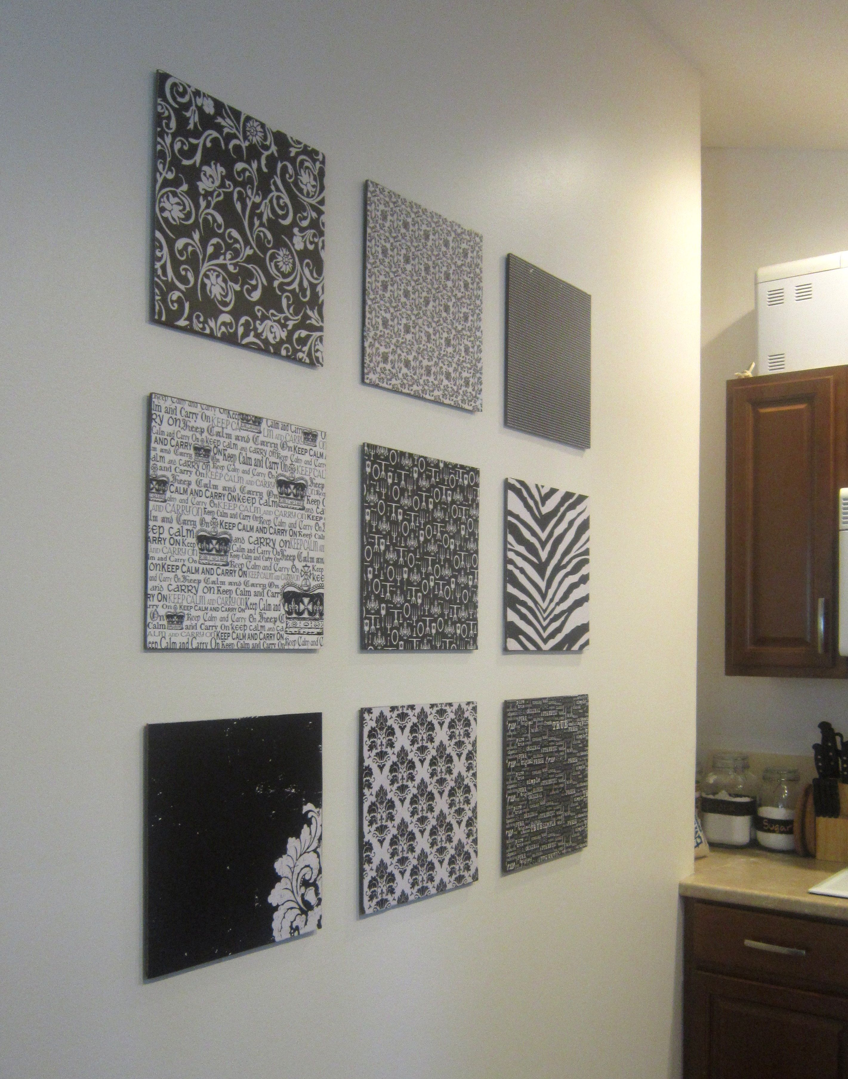 Diy Wall Decoration Ideas For Living Room : Diy scrapbook paper wall art empty