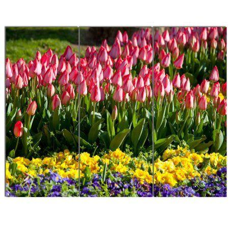 Design Art \'Tulip Garden with Yellow Flowers\' 3 Piece Photographic ...