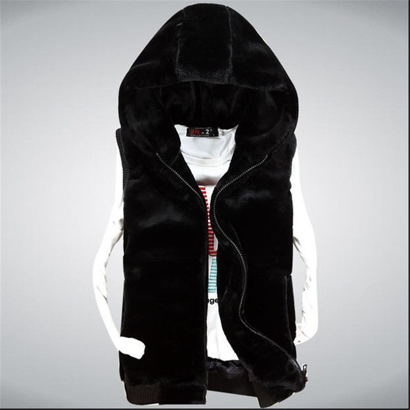 Black sleeveless jacket with hood