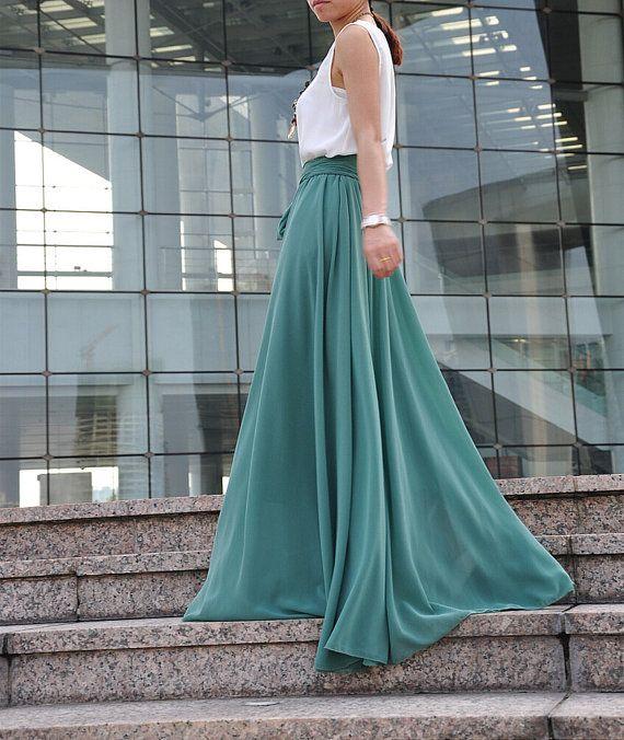 420cb18f91f37a Long Chiffon Skirt, Maxi Skirt High Waisted, Silk Chiffon, Maxi Skirt  Formal,