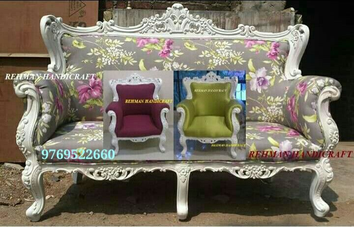 Wood Teak Carving Sofa Set With White Duco Paint And Cushion Fabric Customer S Choice Made In Mumbai For Pune Ba Sofa Reupholstered Sofa Set Cushion Fabric