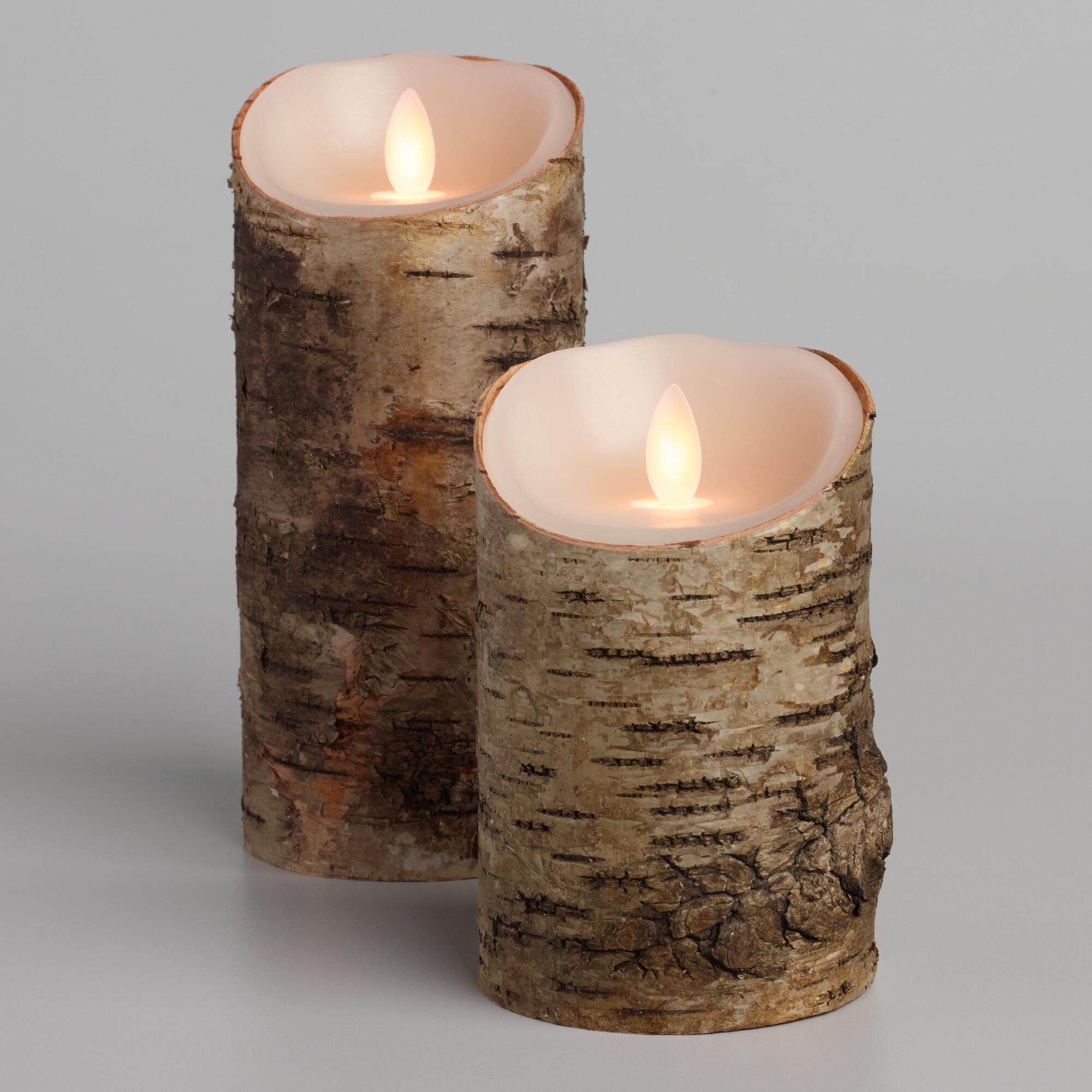 Birch Bark Iflicker Flameless Led Pillar Candle 3 X5 By World