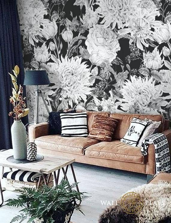 Watercolor Black And White Flowers Mural Removable Wallpaper Etsy White Flower Wallpaper Floral Wallpaper Wall Wallpaper