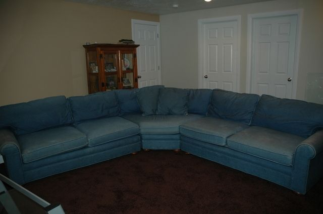 Wonderful Denim Sectional Couch Bought From Evans Frontier Store Many Years Ago And  Has Very Minimal Wearing