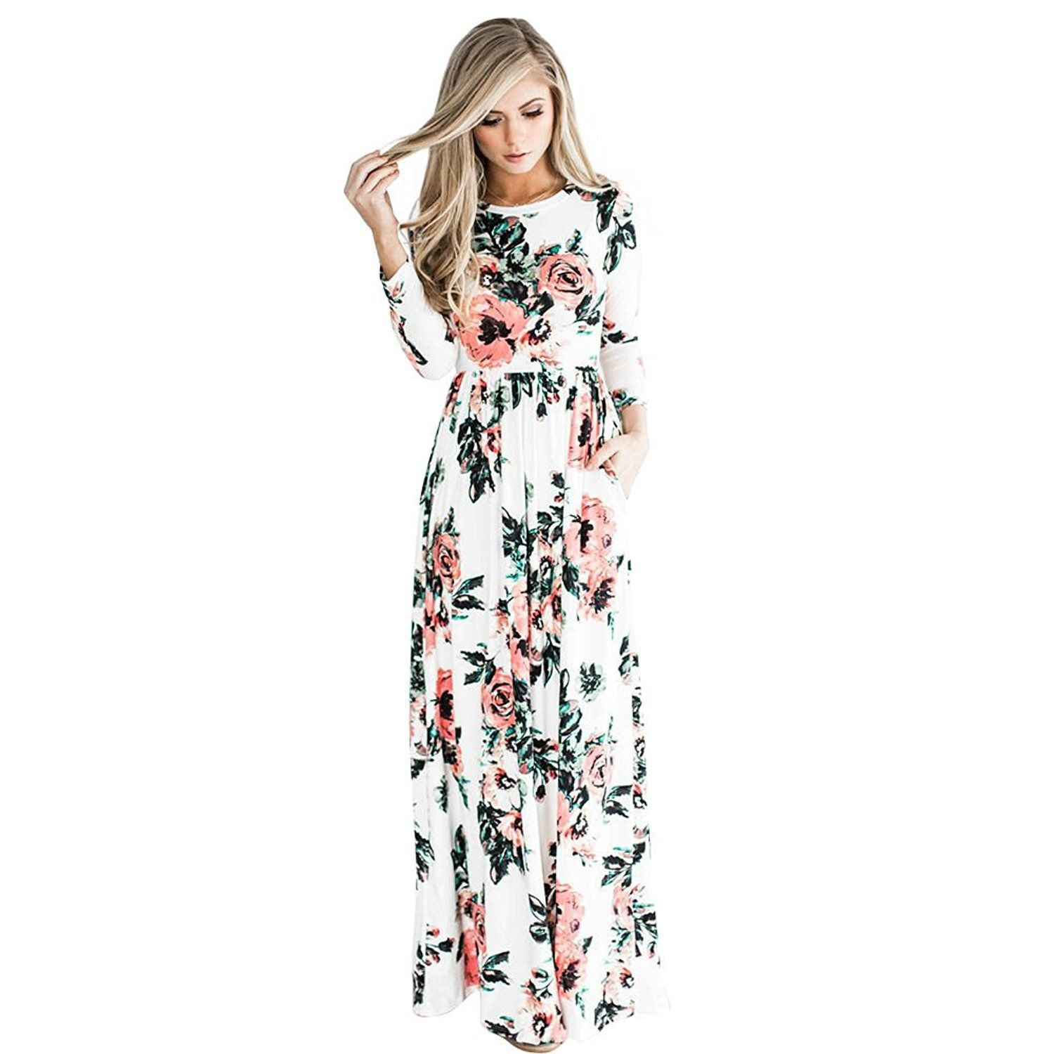 Youcoo women floral printed long sleeve empire maxi dress with