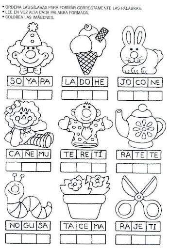 Ordenar sílabas para escribir y leer la palabra correcta a cada ...
