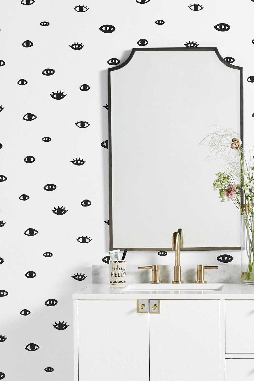 Eye See You Wallpaper by Bobby Berk in Black, Wall Decor