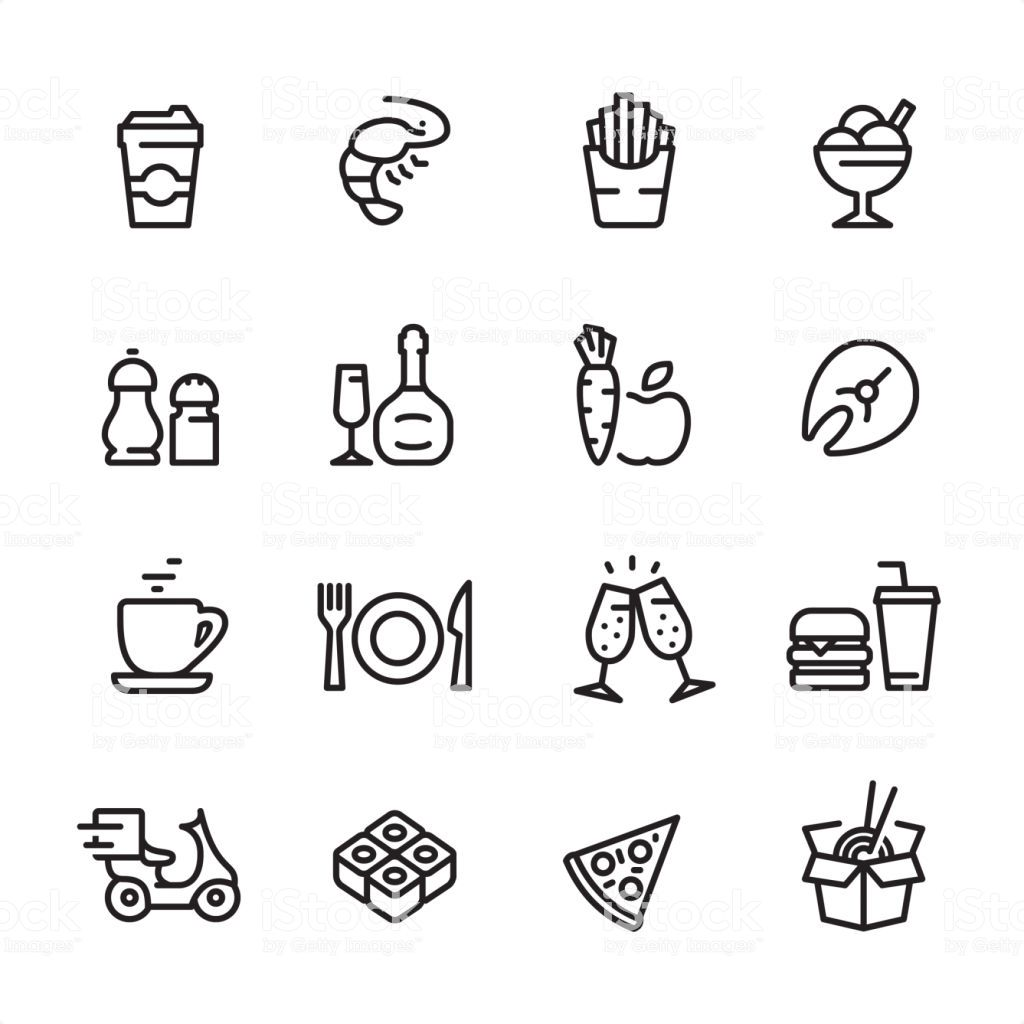 16 Line Black On White Icons Set Restaurant Fast Food